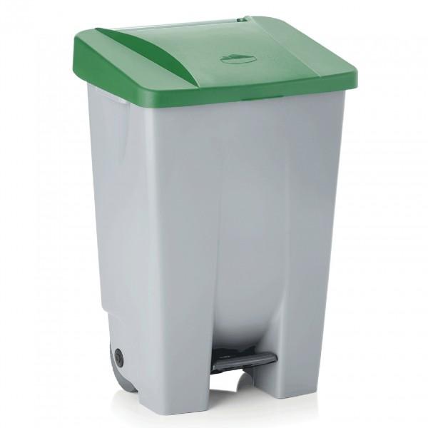 Tretabfallbehälter mit grünem Deckel, 80 ltr., Polyethylen