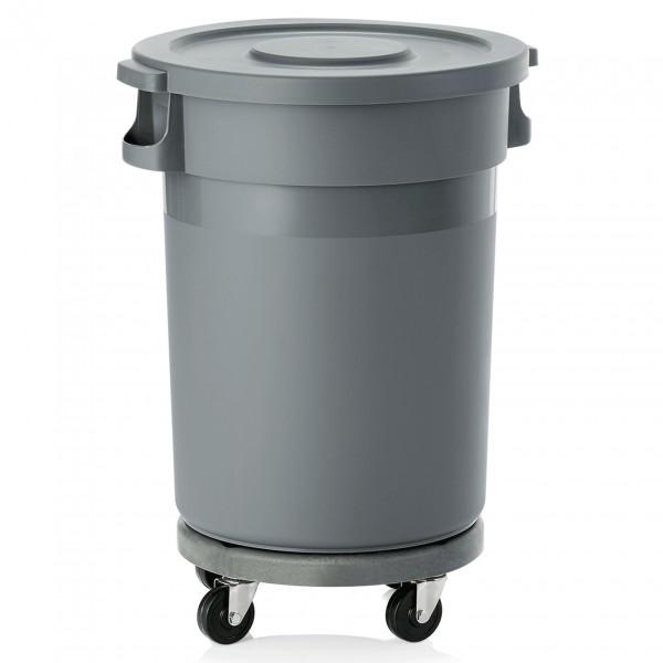 Abfallbehälter mit Deckel & Rädern, 80 ltr., Polypropylen, grau