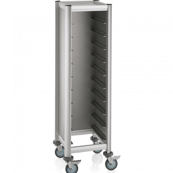 Tablettwagen für 10 Tabletts, 51,5 x 47,5 x 165 cm, silberfarben, Alu-Profile/MDF