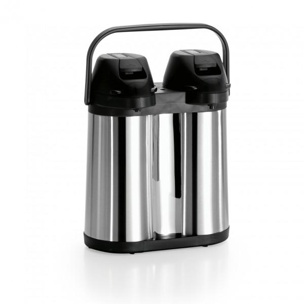 Pump-Isolierkanne DUO, 2 x 2,0 ltr., Chromnickelstahl