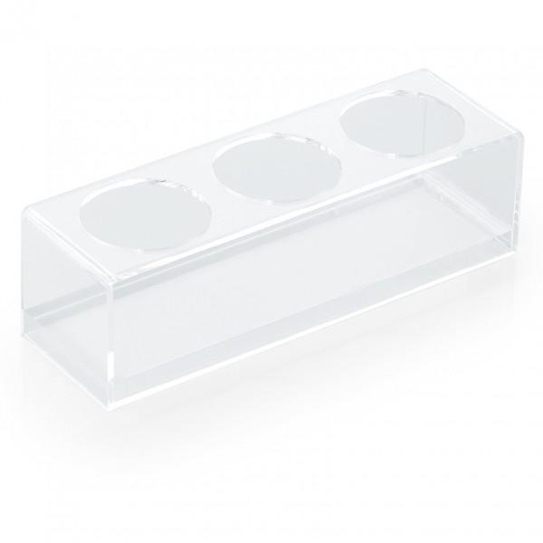 Ablageständer für drei Quetschflaschen á 0,47 & 0,70 ltr., Acryl