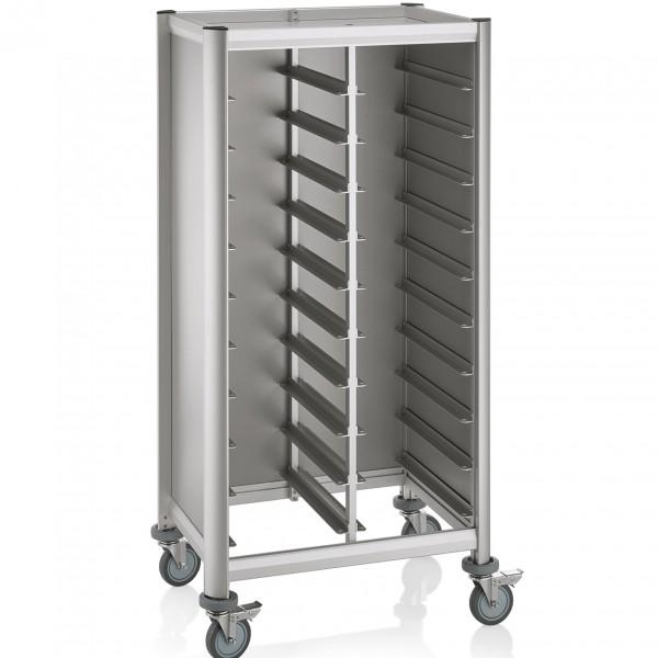 Tablettwagen für 2 x 10 Tabletts, 60,5 x 80 x 160 cm, Alu-Profile/MDF