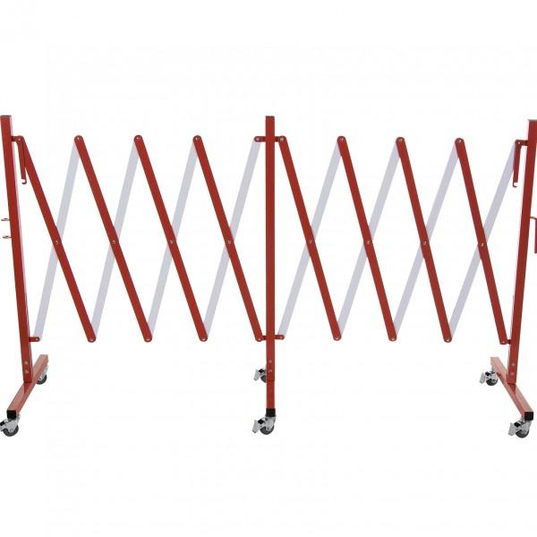 Scherensperre mit sechs Rollen, 4 m, rot & weiß, Aluminium