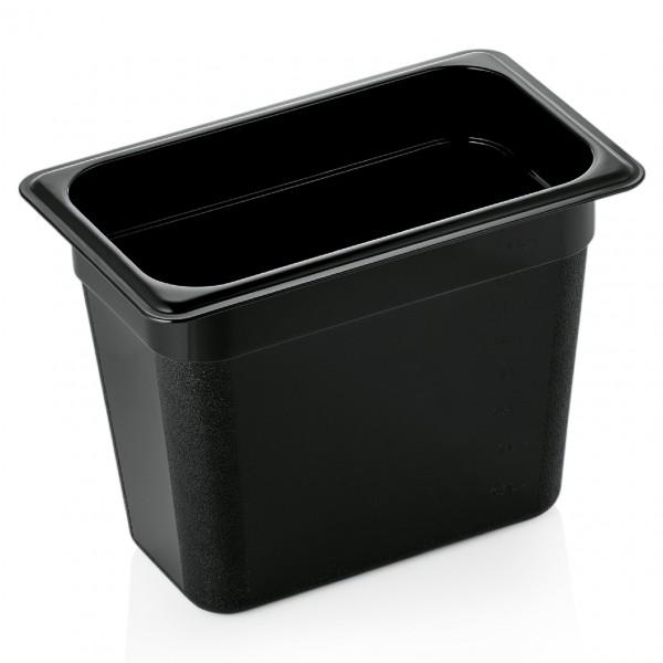 GN Behälter 1/4-200 mm, schwarz, Polycarbonat
