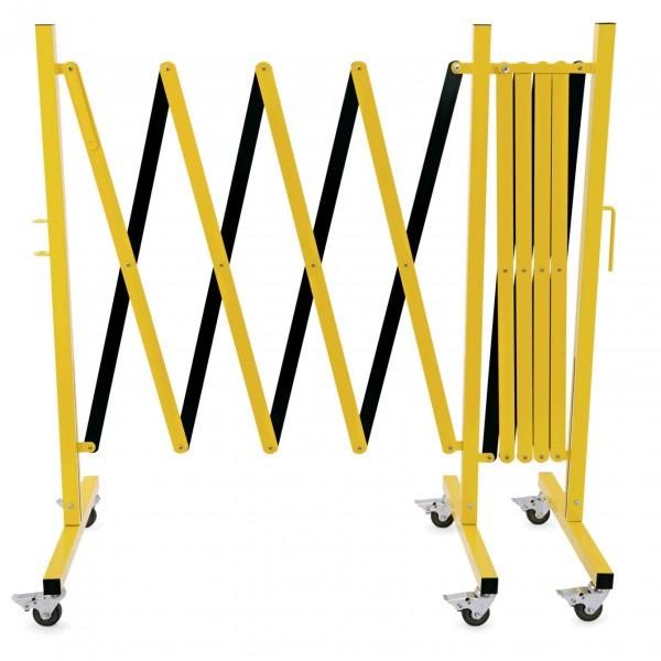 Scherensperre mit sechs Rollen, 4 m, gelb & schwarz, Aluminium