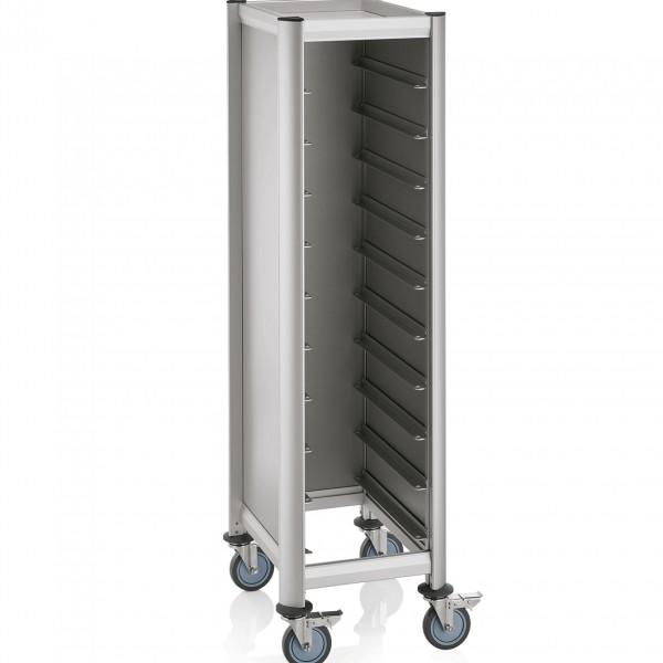 Tablettwagen für 10 Tabletts, 60,5 x 44,5 x 165 cm, silberfarben, Alu-Profile/MDF