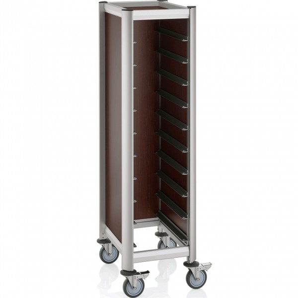 Tablettwagen für 10 Tabletts, 60,5 x 44,5 x 165 cm, dunkle Holzoptik, Alu-Profile/MDF