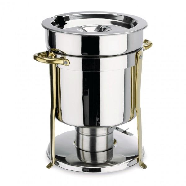 Suppen Chafing Dish, 6,5 ltr., Beschläge goldfarben, Chromnickelstahl