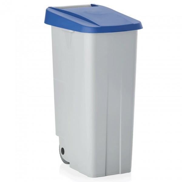 Abfallbehälter mit blauem Deckel, 85 ltr., Polypropylen
