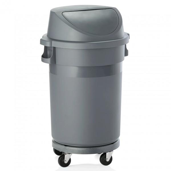 Abfallbehälter mit Push-Deckel & Rädern, 80 ltr., Polypropylen