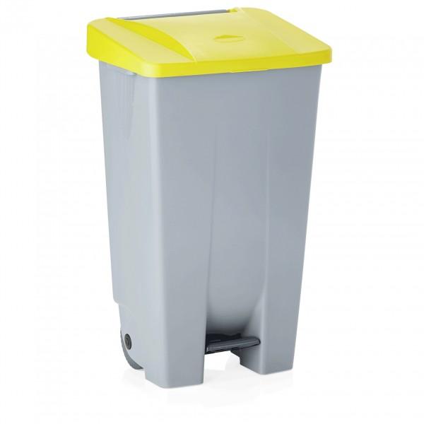 Tretabfallbehälter mit gelbem Deckel, 120 ltr., Polyethylen
