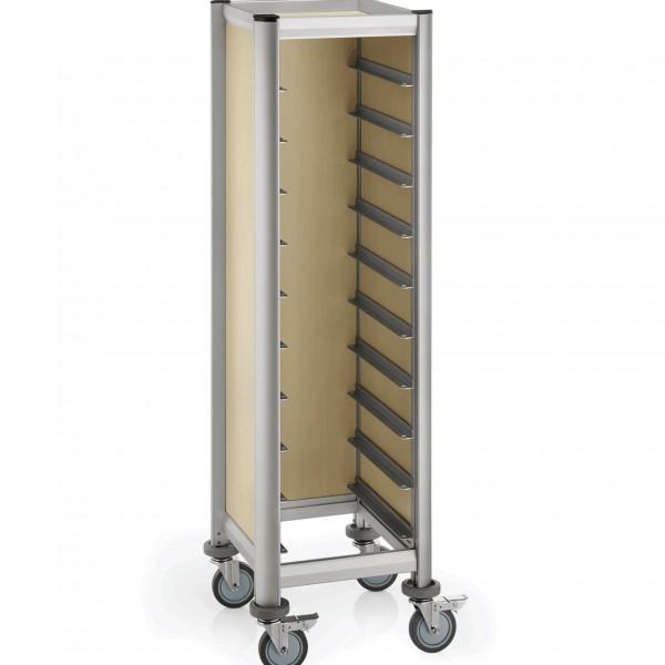 Tablettwagen für 10 Tabletts, 51,5 x 47,5 x 165 cm, helle Holzoptik, Alu-Profile/MDF