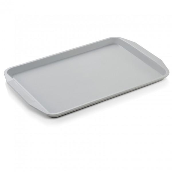 Tablett mit Lappengriffen, 44,3 x 31,5 cm, lichtgrau, Polypropylen