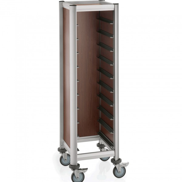 Tablettwagen für 10 Tabletts, 51,5 x 47,5 x 165 cm, dunkle Holzoptik, Alu-Profile/MDF