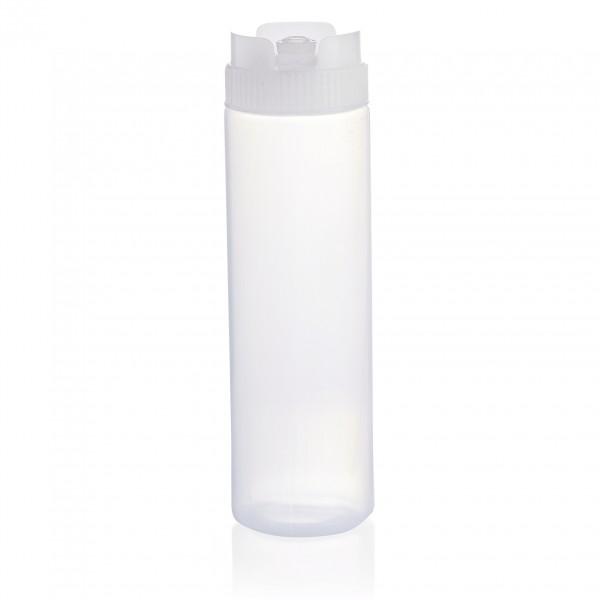 Quetschflasche, 0,75 ltr., transparent, mit Silikonventil, Polyethylen