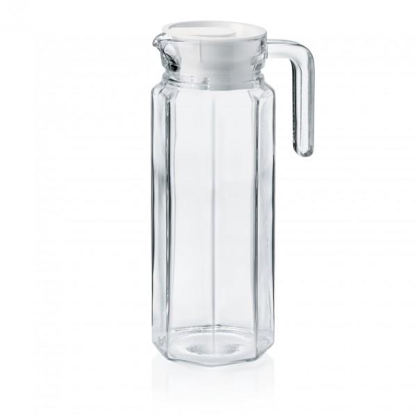 Krug mit Kunststoffdeckel, 1,00 ltr., Glas