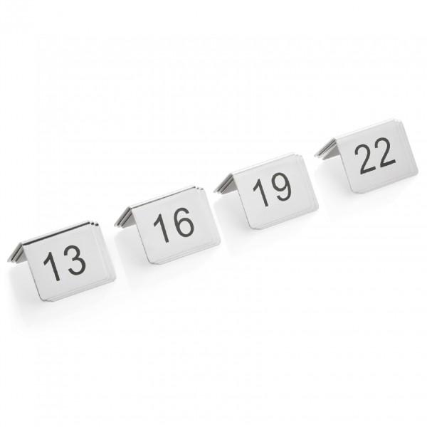 Tischnummernschild Set, 12-teilig, 13-24, Chromnickelstahl
