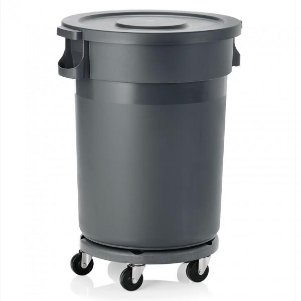 Abfallbehälter mit Deckel & Rädern, 120 ltr., Polypropylen, grau