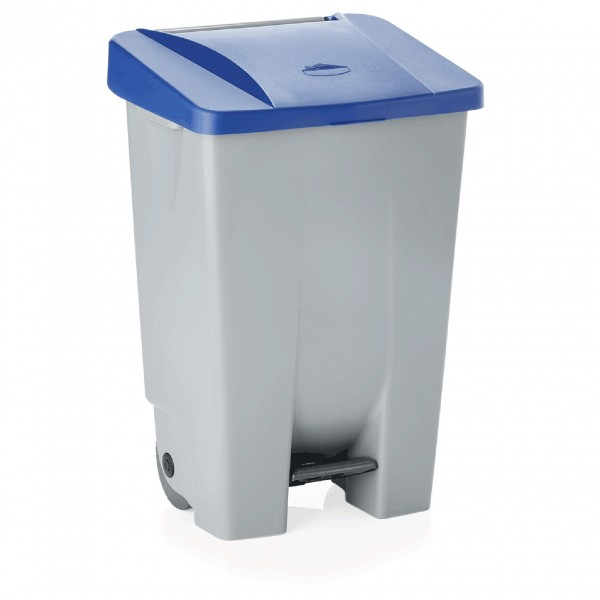 Tretabfallbehälter mit blauem Deckel, 80 ltr., Polyethylen