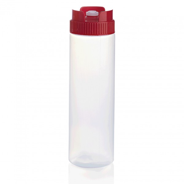 Quetschflasche, 0,75 ltr., rot, mit Silikonventil, Polyethylen