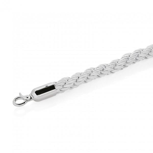 Verbindungskordel, Ø 32 mm, 1,5 m, silber-weiß, mit verchromten Beschlägen