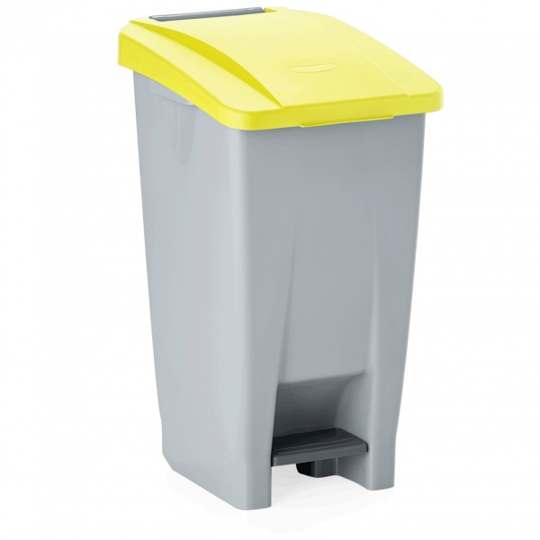 Tretabfallbehälter mit gelbem Deckel, 60 ltr., Polyethylen