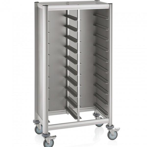 Tablettwagen für 2 x 10 Tabletts, 86 x 51 x 165 cm, Alu-Profile/MDF