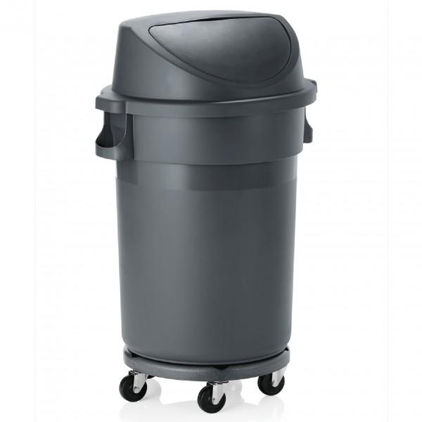 Abfallbehälter mit Push-Deckel & Rädern, 120 ltr., Polypropylen