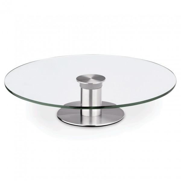 Tortenplatte auf Fuß, Ø 30 cm, Glas/Edelstahl