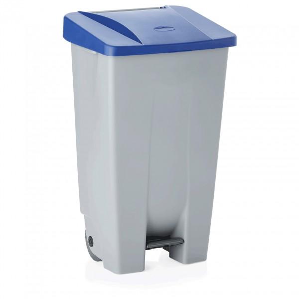 Tretabfallbehälter mit blauem Deckel, 120 ltr., Polyethylen